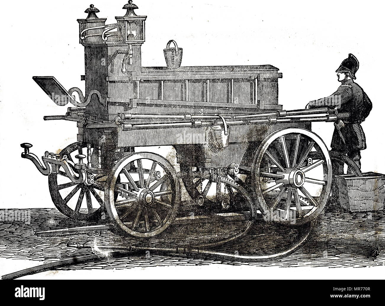 Engraving depicting a Merryweather & Sons fire engine. This would be drawn to the scene of a fire by four horses, and the pump required 30 men to operate it. Dated 19th century - Stock Image