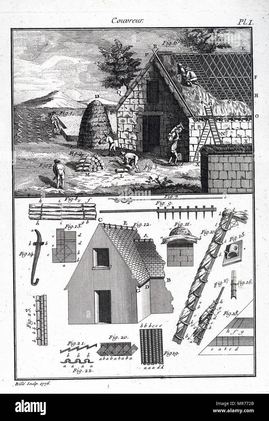 Engraving depicting the various stages in thatching a building from cutting the material to fixing it to the roof. Dated 18th century - Stock Image