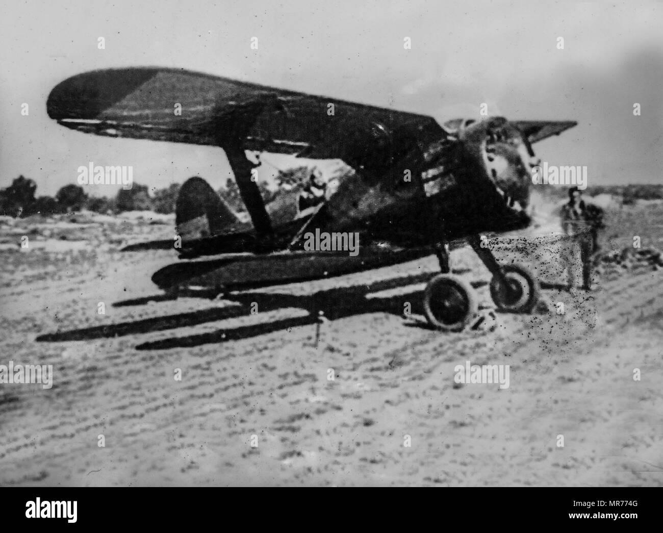 Saceruela, Spain - 2017 September 2nd: Damaged pictures taken at Saceruela Republican aviation aerodrome, Ciudad Real, Spain - Stock Image