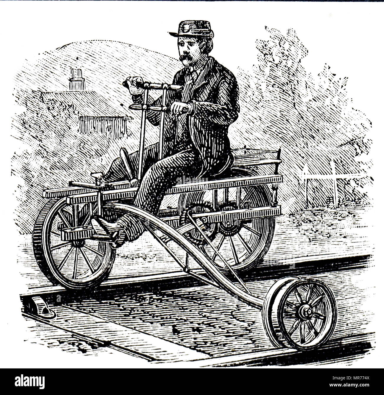 Engraving depicting a velocipede used on the railways round Lake Michigan to get employees quickly from point to point. The rider used both a hand lever and his feet to propel the vehicle, and it was possible to dismount and remove it from the rails quickly. Dated 19th century - Stock Image