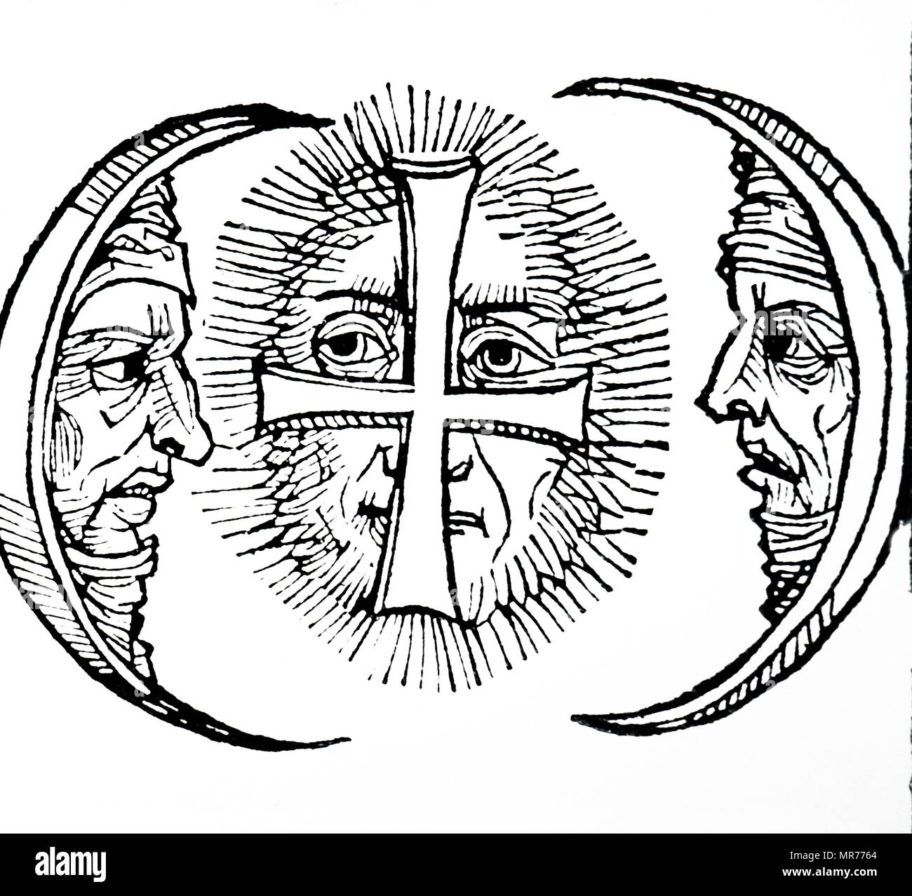 Engraving depicting triple moons, as observed in the 12th century. Dated 15th century - Stock Image