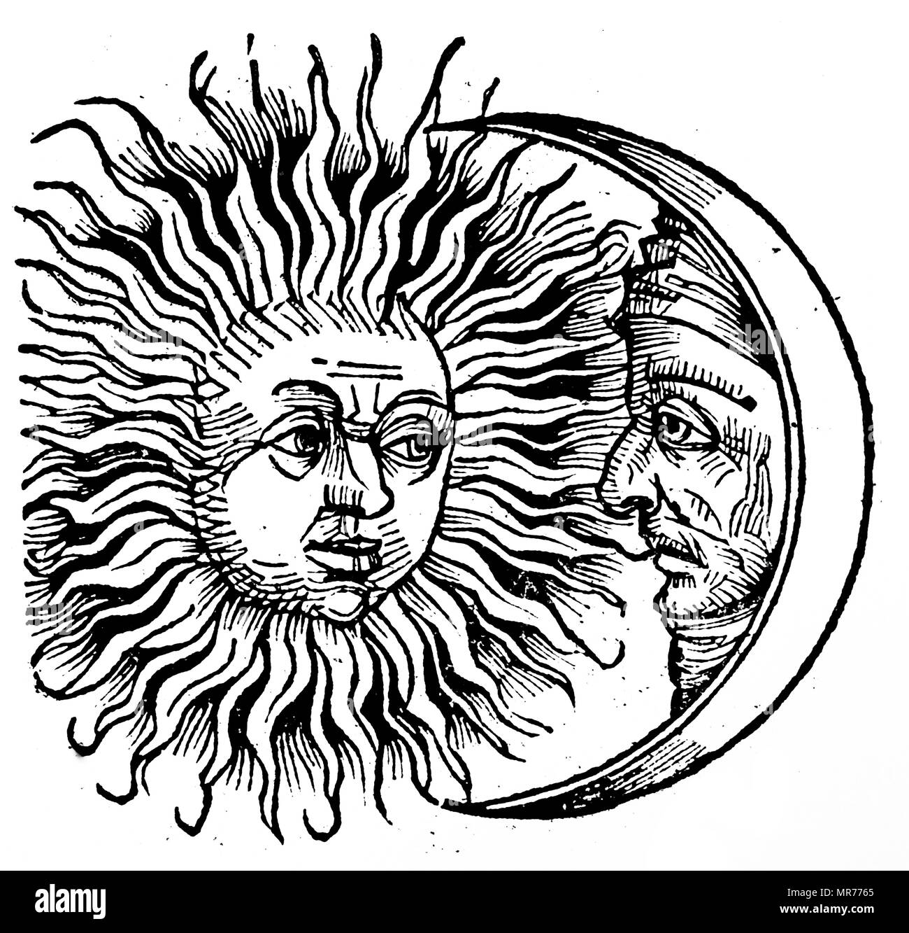 Engraving depicting the lunar eclipse which appeared the year Alexander the Great was born -356 BC. Dated 15th century - Stock Image