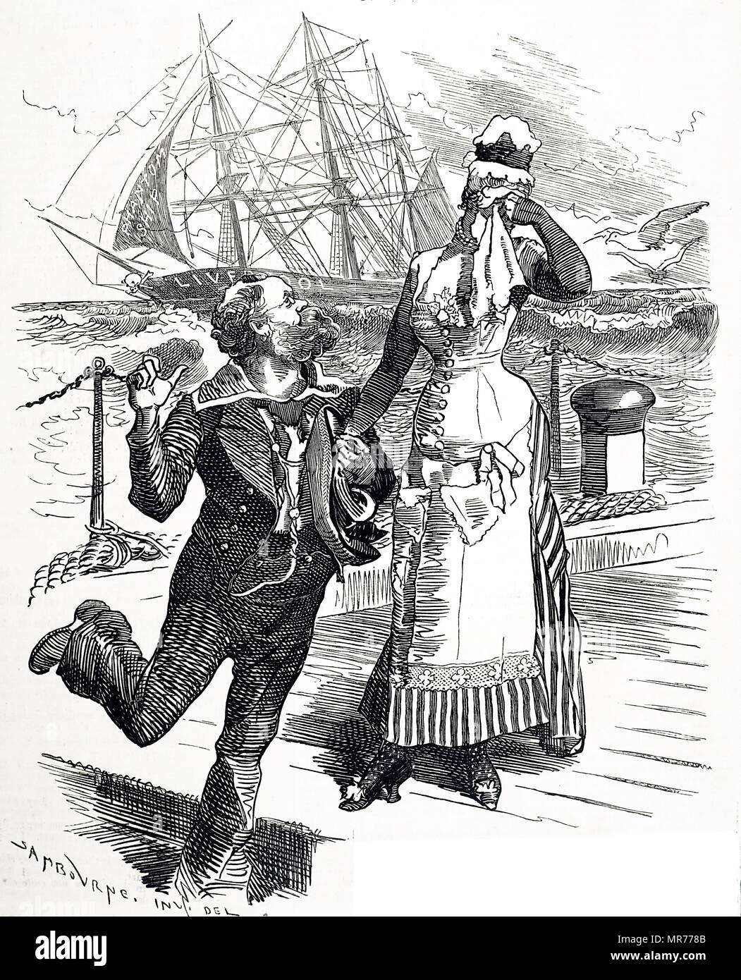 Cartoon commenting on the retirement of Samuel Plimsoll as MP for Derby, a seat which he held from 1868-1880.  He is shown dressed as a sailor, with a ship in the background as a tribute to the work he did in bringing about legislation regulating the loading and seaworthiness of merchant ships. It is for him that the Plimsoll Line is named. Samuel Plimsoll (1824-1898) an English politician and social reformer. Dated 19th century - Stock Image
