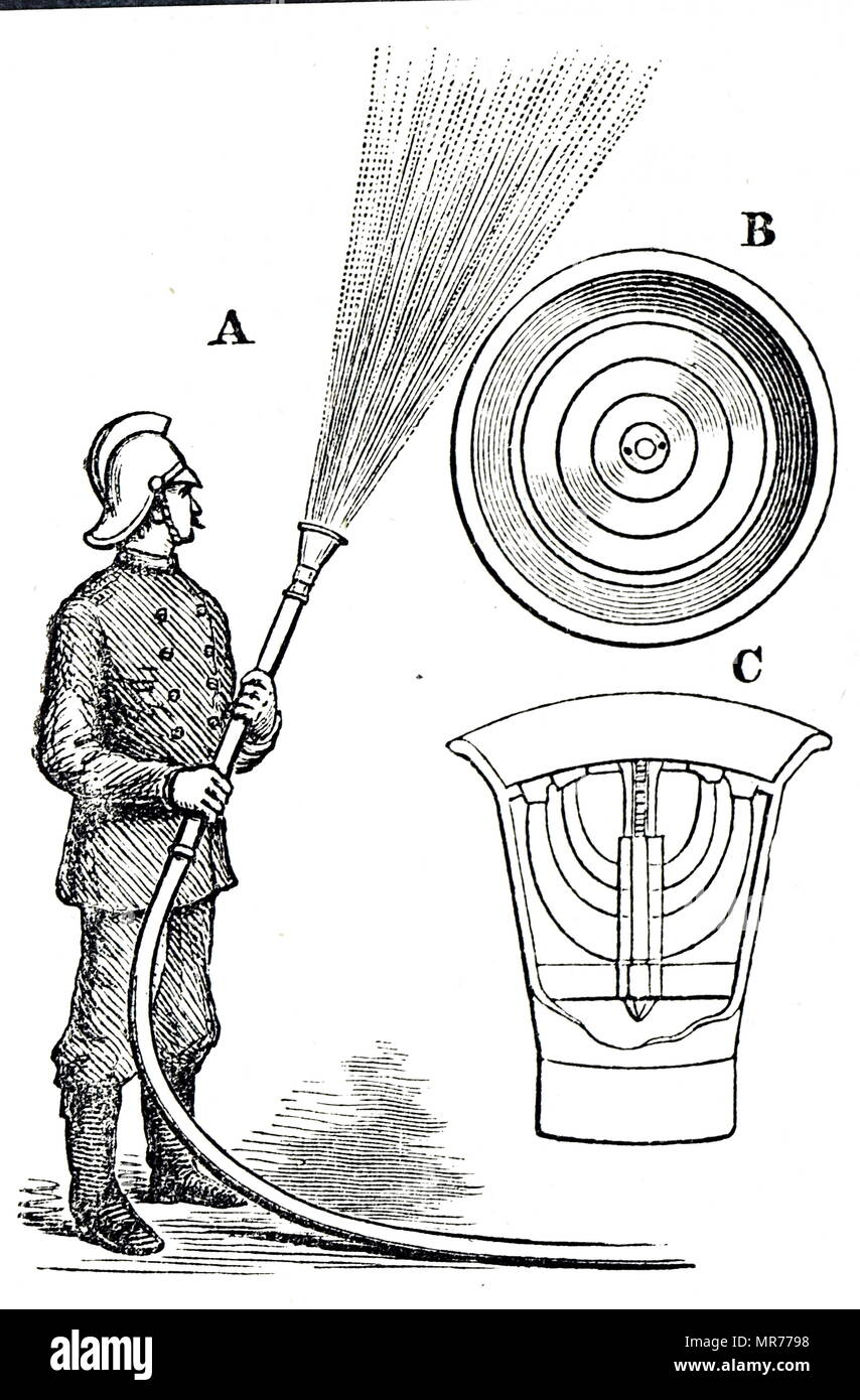 Engraving depicting the nozzle for a fire hose designed to deliver the water sprayed out rather than in a solid stream. Dated 19th century - Stock Image