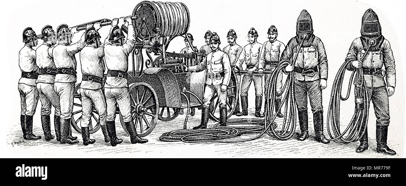 Engraving depicting breathing apparatus used by the Vienna Fire Brigade. Dated 19th century - Stock Image