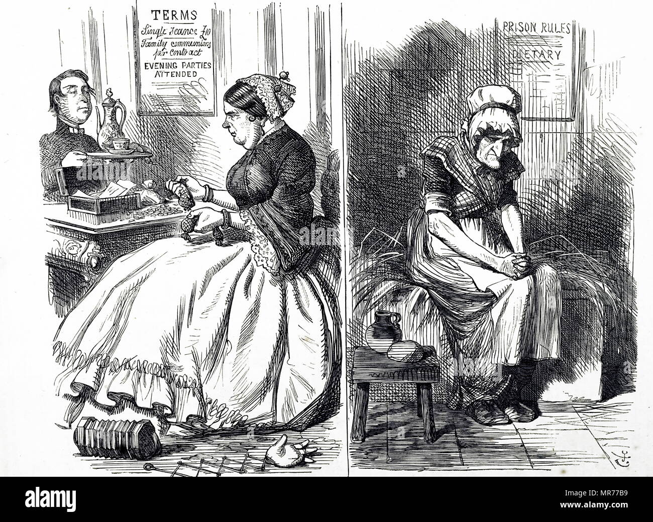 Cartoon satirising two aspects of women's lives during the 19th century. Left: A middle-class woman has tea with a cleric. Right: An elderly prisoner sits in her cell. Dated 19th century - Stock Image