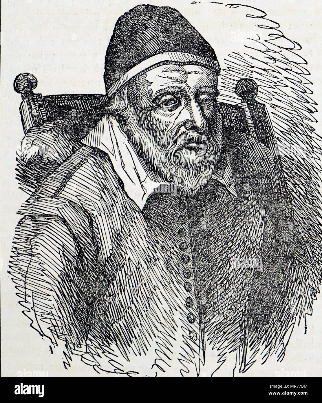 Engraving depicting Old Tom Parr (1483-1635) an Englishman who was said to have lived for 152 years. Dated 19th century - Stock Image