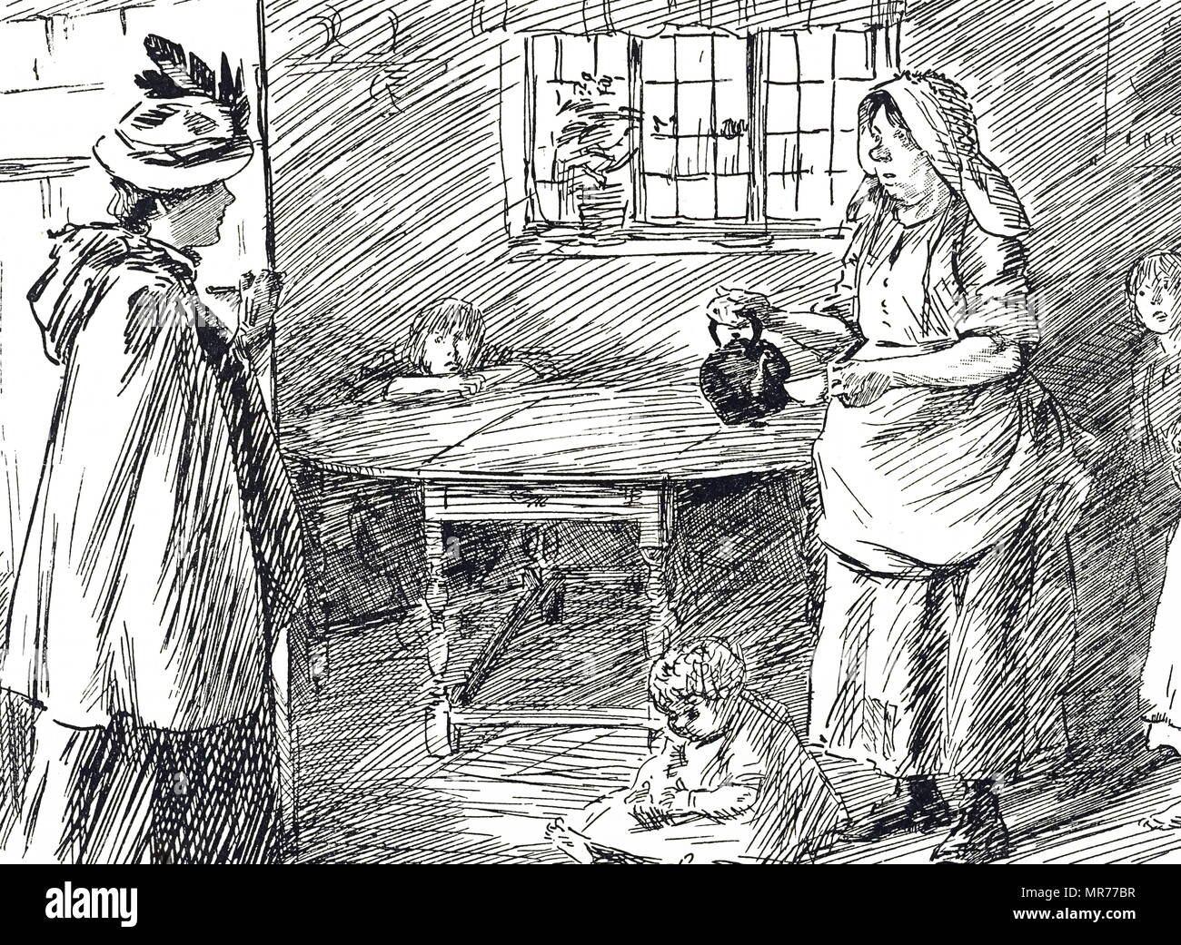 Cartoon depicting a landlady visiting her poor tenants to collect their rent. Dated 20th century - Stock Image