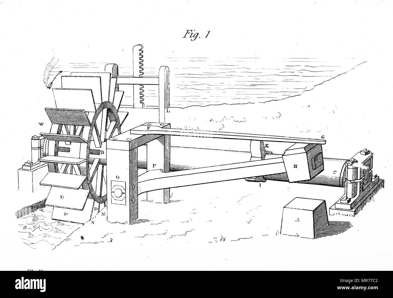 Engraving depicting a 150-200kig hammer powered by a water wheel. Cogs, (I,K,) raise the hammer and let it drop as the axle, (C,), turns. Dated 19th century - Stock Image