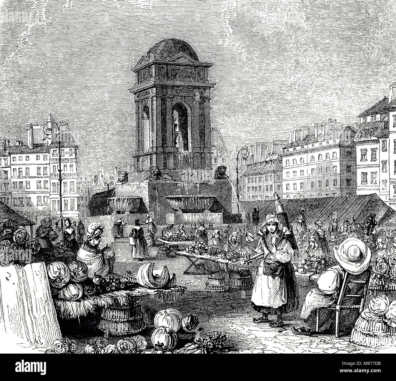 Engraving depicting Marche des Innocens, the market which supplied Paris with flowers, fruit and vegetables. Dated 19th century - Stock Image