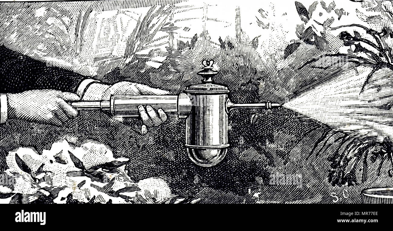 Engraving depicting a syringe with reservoir for use as a disinfectant spray or as spray for plants and flowers. Dated 19th century - Stock Image