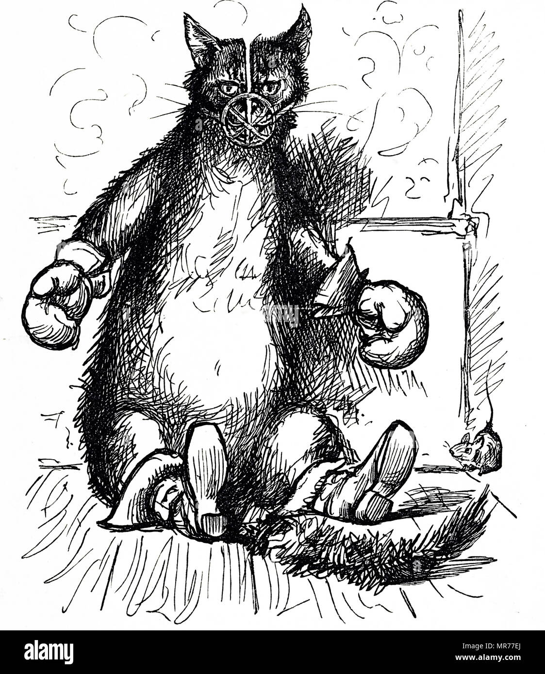Cartoon depicting a cat wearing a muzzle, gloves and boots trying to prevent the spread of disease presumed to be represented by the mouse. Concern about the spread of epidemics was commonplace in Victorian London. Dated 19th century - Stock Image