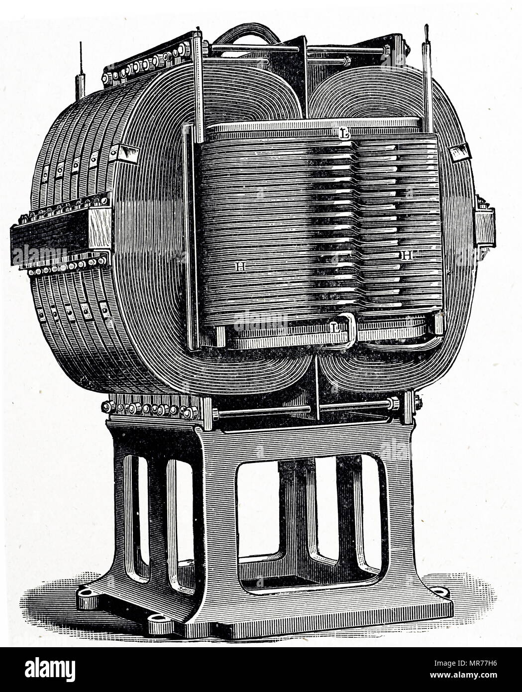 Engraving depicting Ferranti's 150 hp transformer used in London sub-stations. Dated 20th century - Stock Image