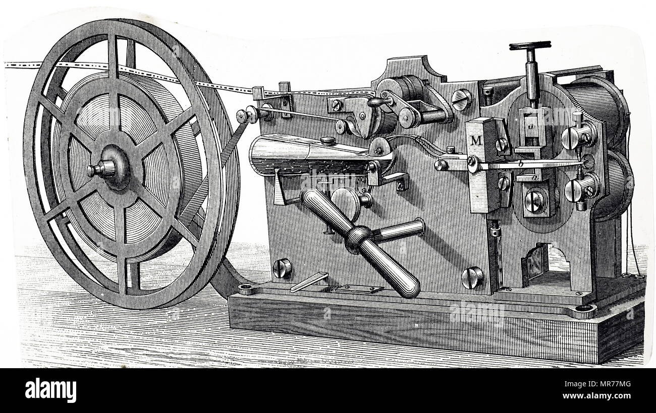 Engraving depicting a message being received on a Morse printing telegraph. Dated 19th century - Stock Image
