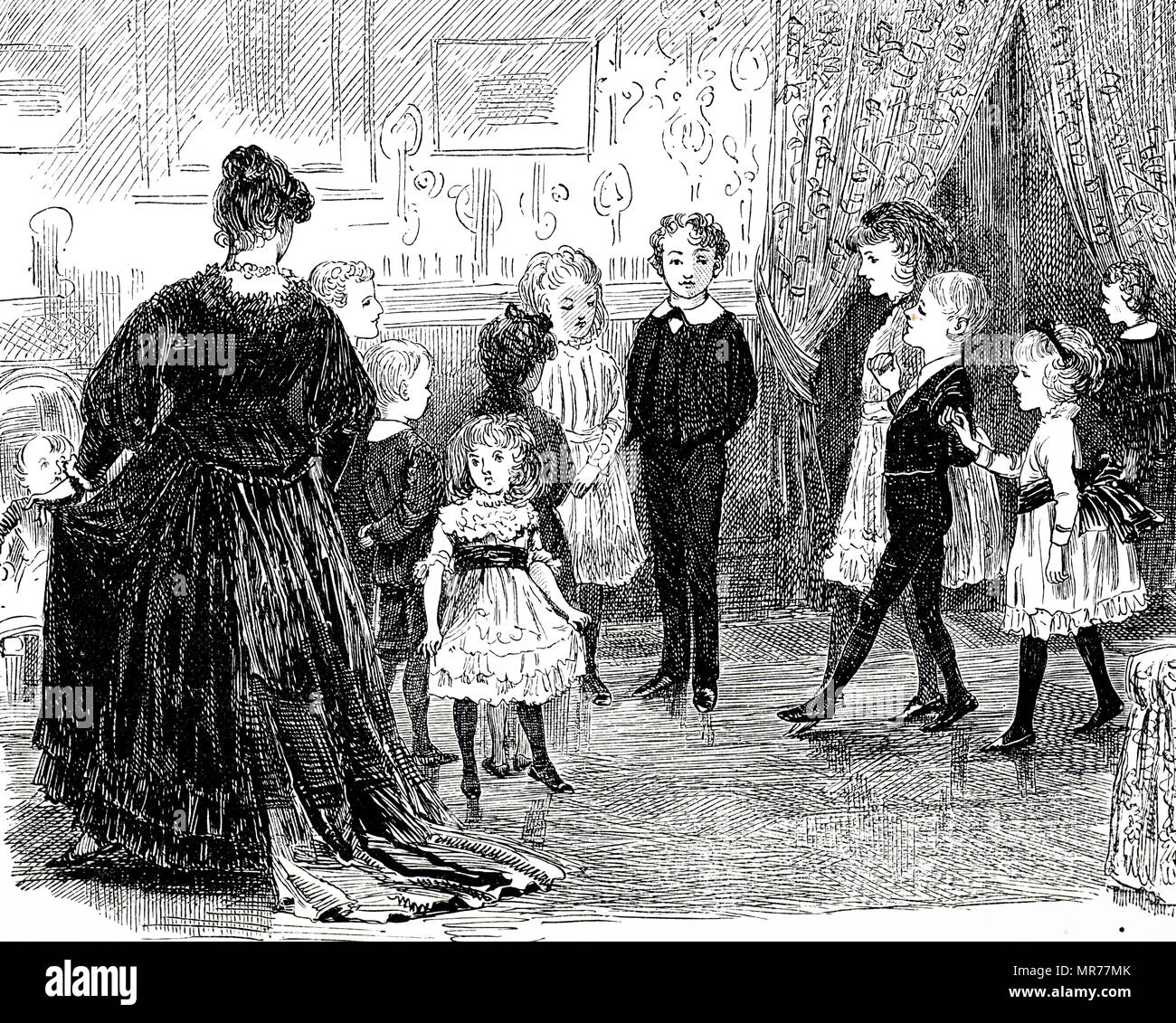 Engraving depicting children at a dancing lesson. Dated 19th century - Stock Image