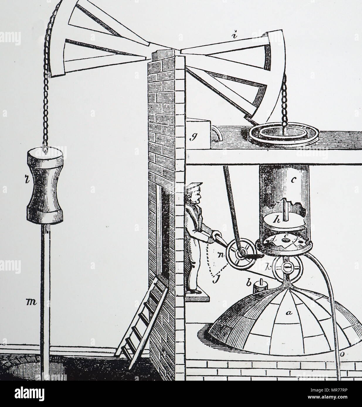 Engraving depicting Thomas Newcomen's atmospheric steam engine, 1705. The boiler is at A), and the piston H), is pushed by steam up the open cylinder C): it descends due to atmospheric pressure when steam in the cylinder is cooled and condensed by water from cistern, G). Thomas Newcomen (1664-1729) an English inventor who created the first practical steam engine in 1712. Dated 19th century - Stock Image