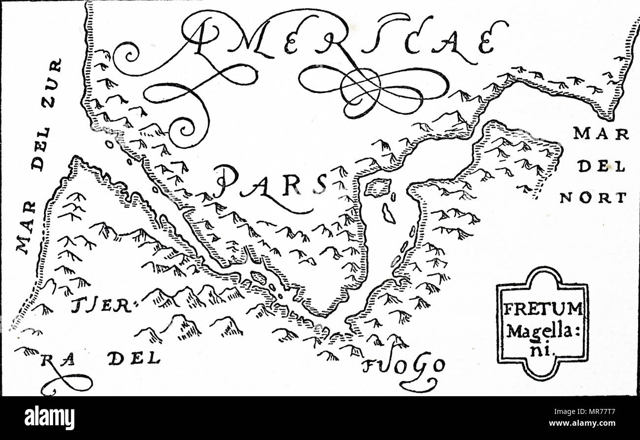 Woodcut engraving based on Jodocus Hondius' map showing the Straits of Magellan and Terra del Fueogo. Magellan passed through the Straits and round Cape Horn during his voyage of circumnavigation. Jodocus Hondius (1563-1612) a Flemish engraver and cartographer. Dated 16th century - Stock Image