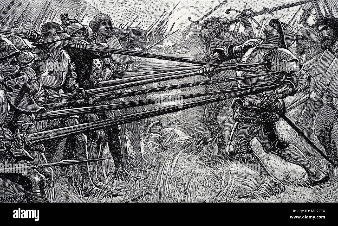 Engraving depicting Arnold von Winkelried's sacrifice at the Battle of Sempach. Arnold von Winkelried was a legendary hero of Swiss history. Dated 19th century Stock Photo