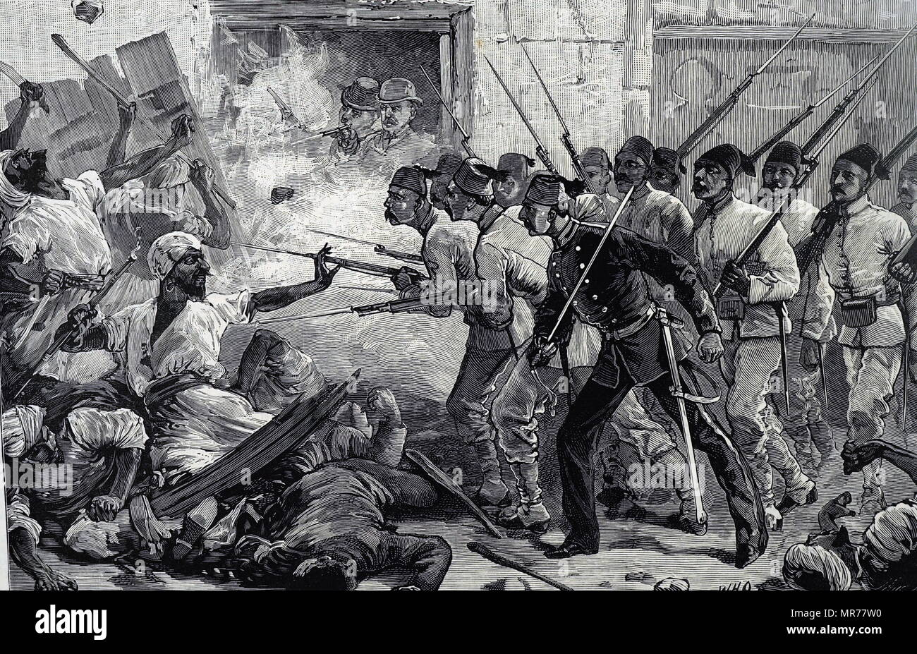 Engraving depicting fixed bayonets being used by troops against rioters in Alexandria. Dated 19th century - Stock Image