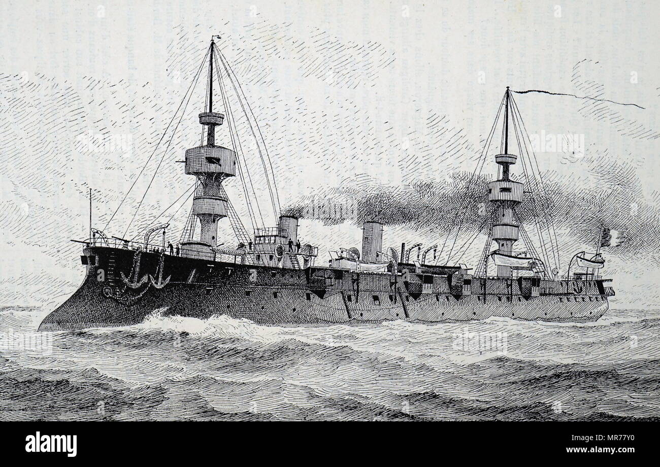 The Jean-Bart; French first class Battle cruiser; 1889 - Stock Image