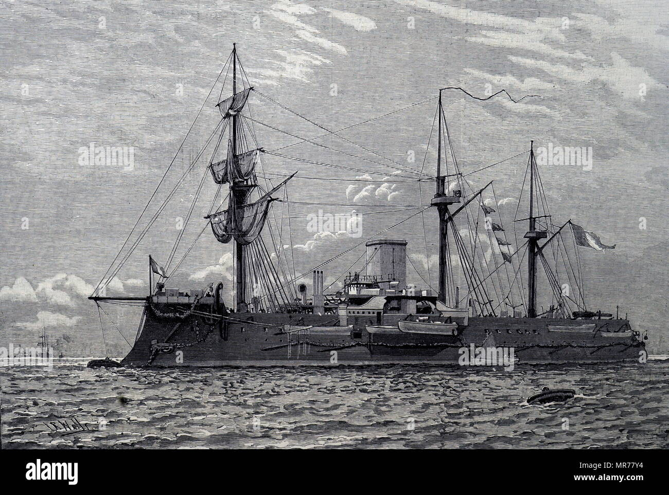 The Redoubtable; French naval ironclad warship. Illustration 1889 - Stock Image