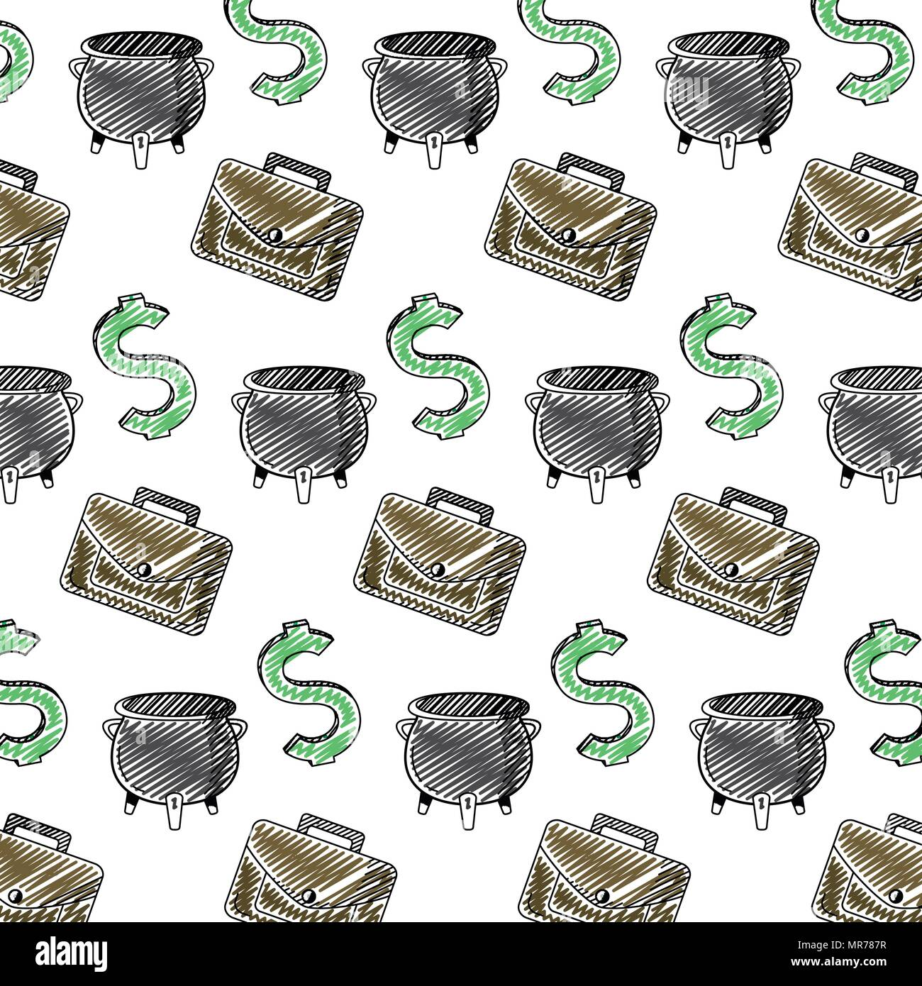 doodle finance cash money things background - Stock Image