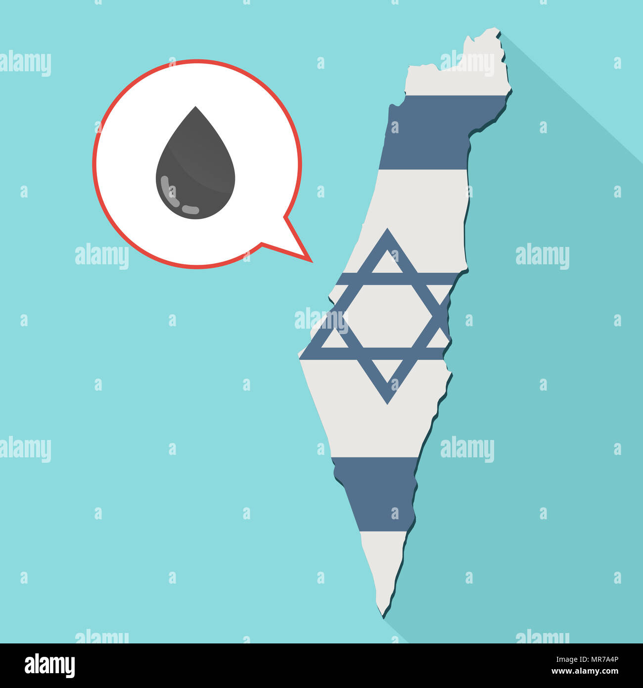 Illustration of a long shadow Israel map with its flag and a comic balloon with liquid drop - Stock Image