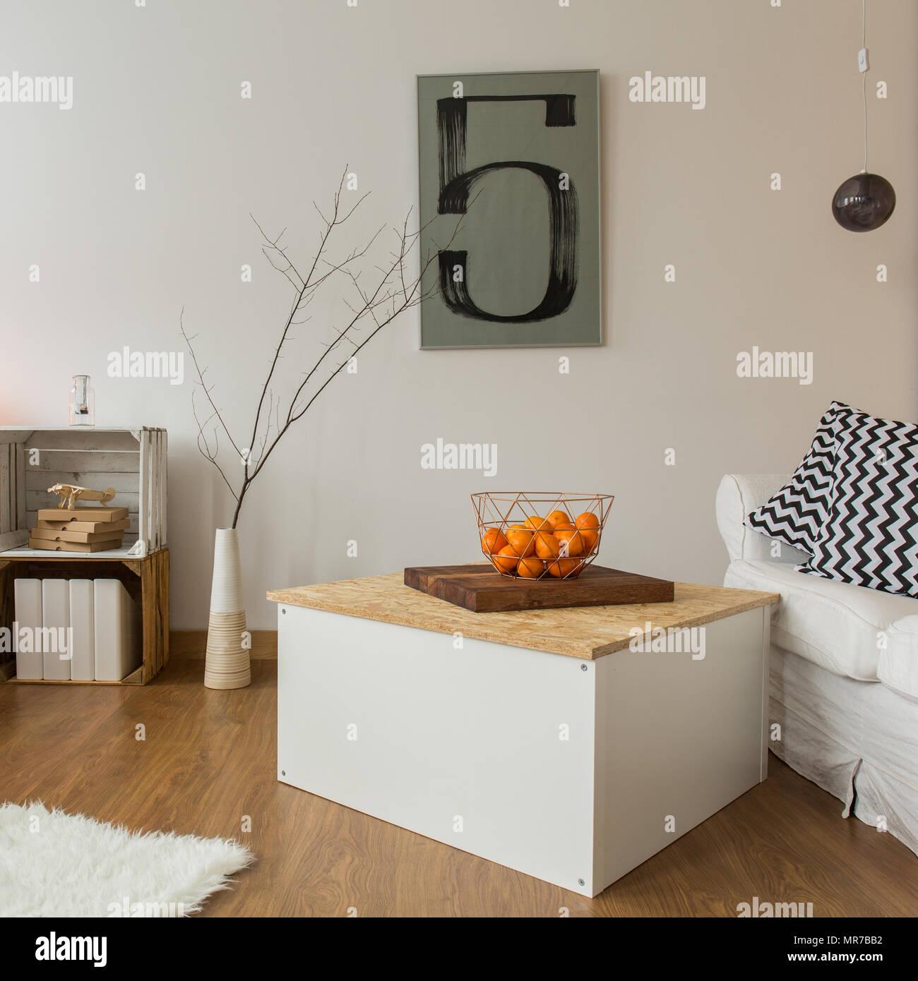 Spacious modern living room with shelves made of hardwood Stock ...