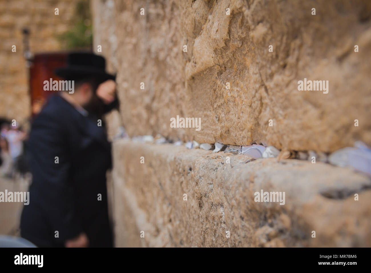 Religious orthodox jew praying at the Western Wall in the old city of Jerusalem Israel. There are notes to God in the cracks between the bricks. - Stock Image