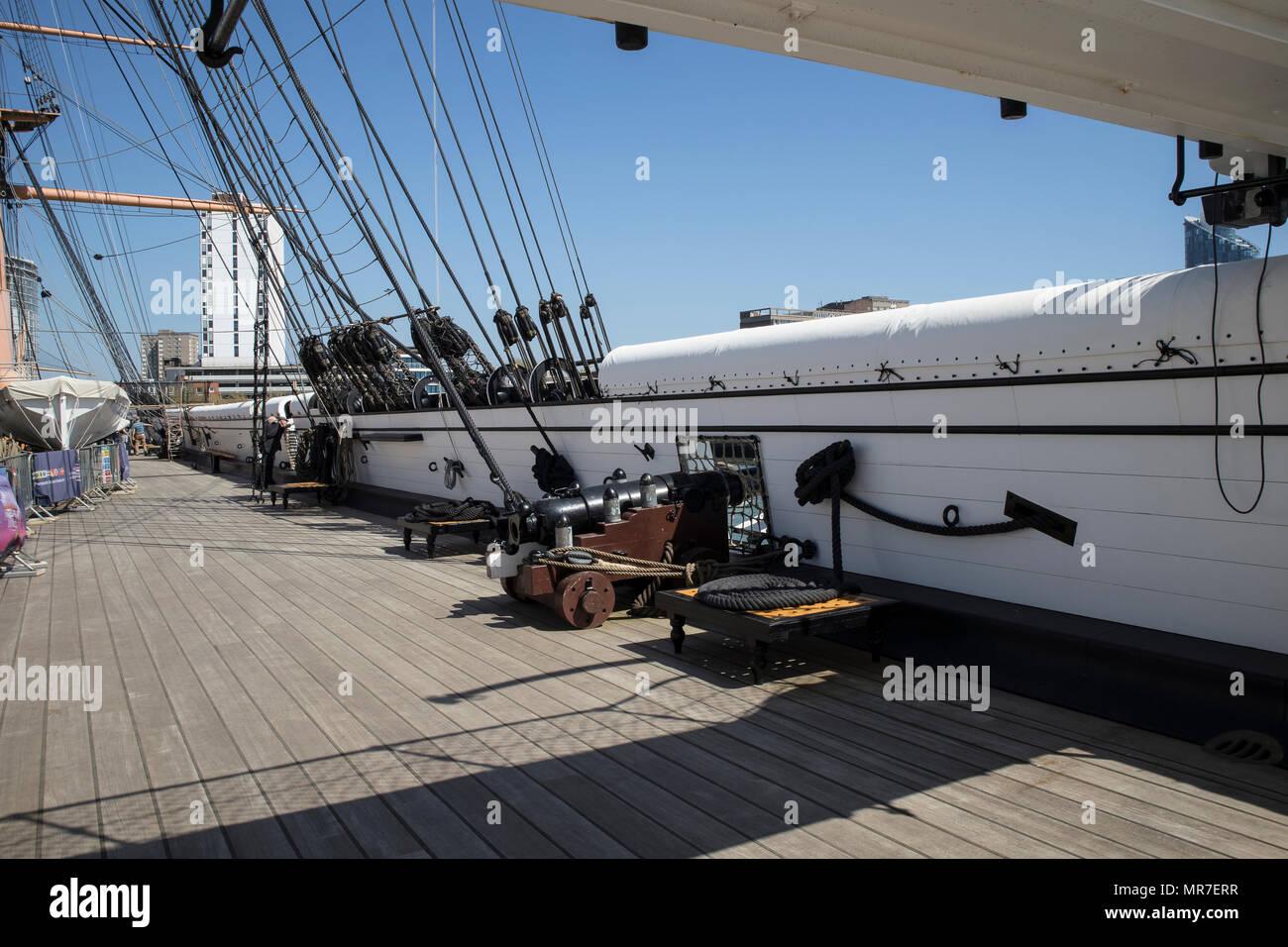 HMS Warrier in Portsmouth Historic Dockyards, UK Stock Photo