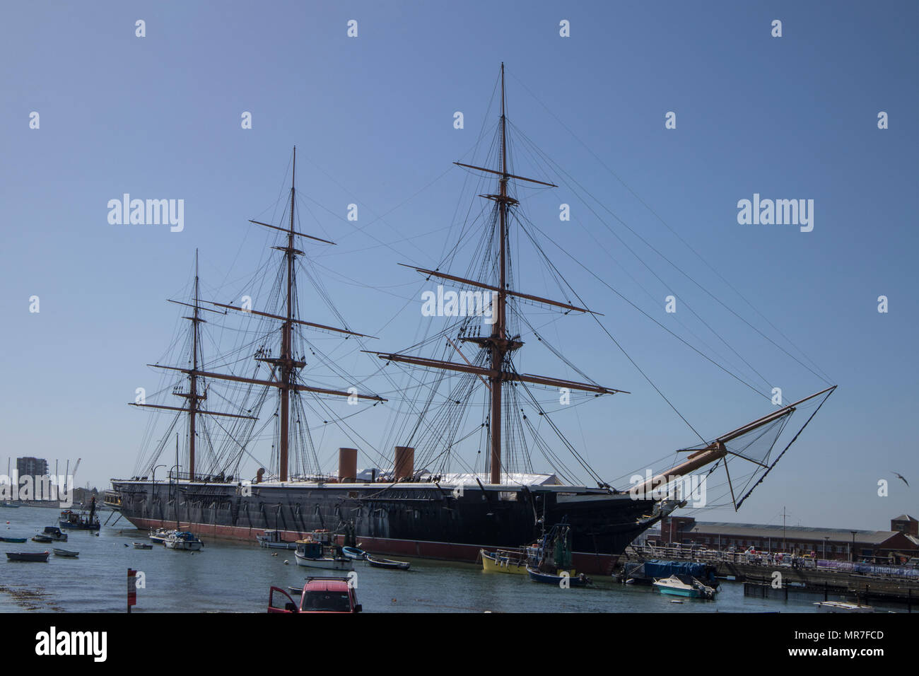 HMS Warrior in Portsmouth Historic Dockyards, Sussex, UK Stock Photo
