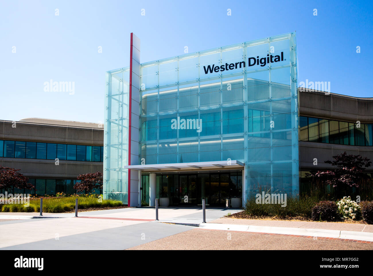 Milpitas, CA, USA   May 21, 2018: Building Of A Western Digital Corporation  Office. WDC, An American Computer Data Storage Company And The Largest Com