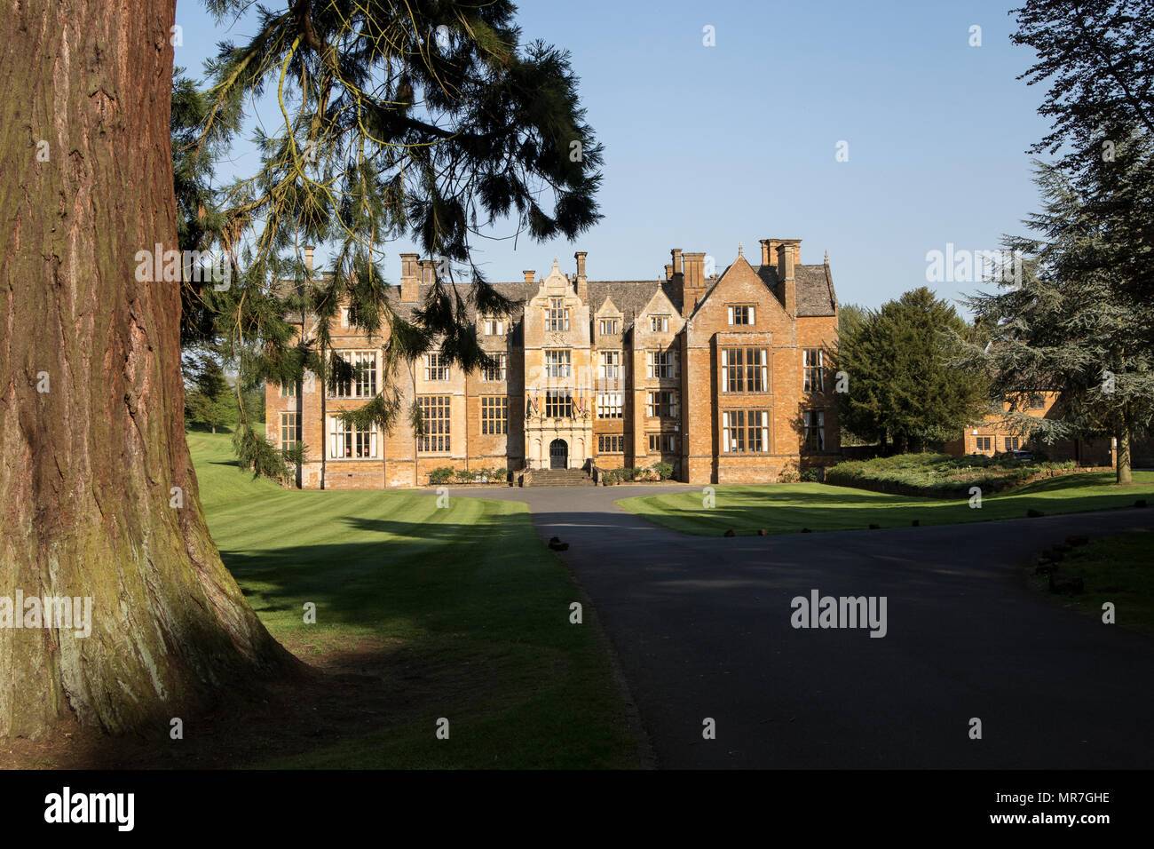The main frontage at Fairleigh Dickinson University, formerly Wroxton College at Wroxton, near Banbury, Oxfordshire - Stock Image