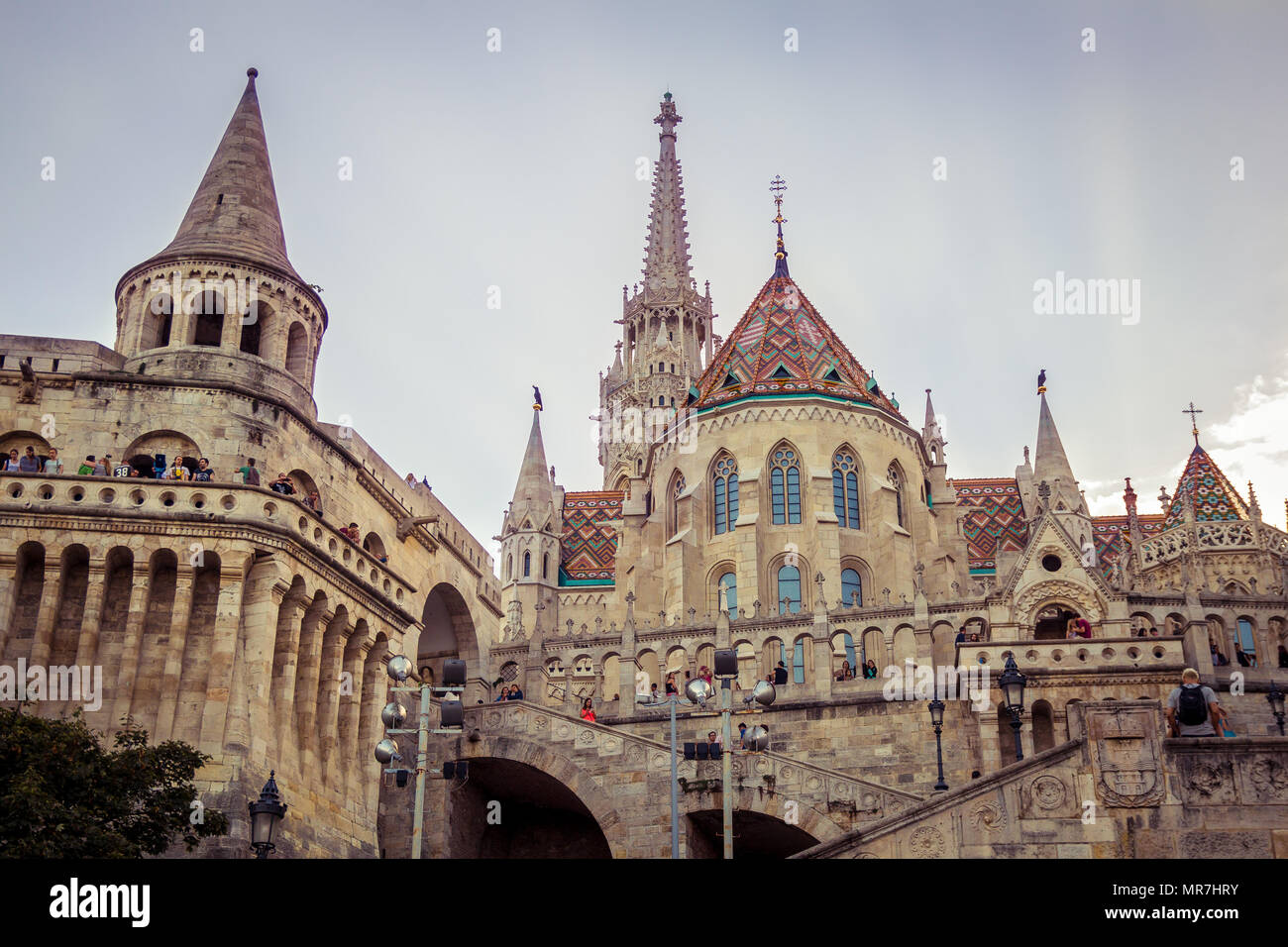 Budapest, Hungary - September 19, 2015: People visit the Fisherman's Bastion in Budapest, Hungary at sunset time - Stock Image