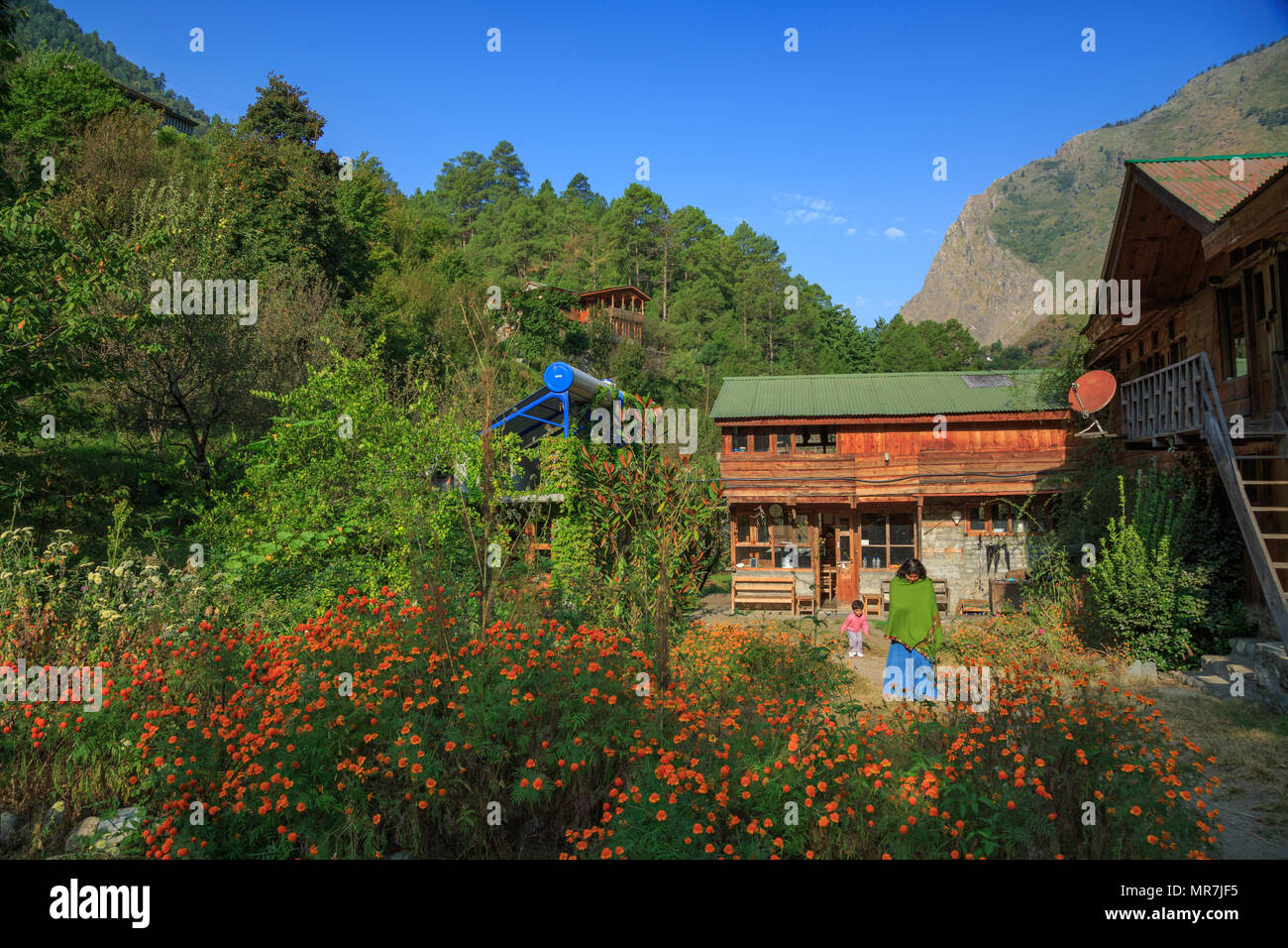 Raju's Cottage - a beautiful homestay in Tirthan Valley (Himachal Pradesh, India) - Stock Image