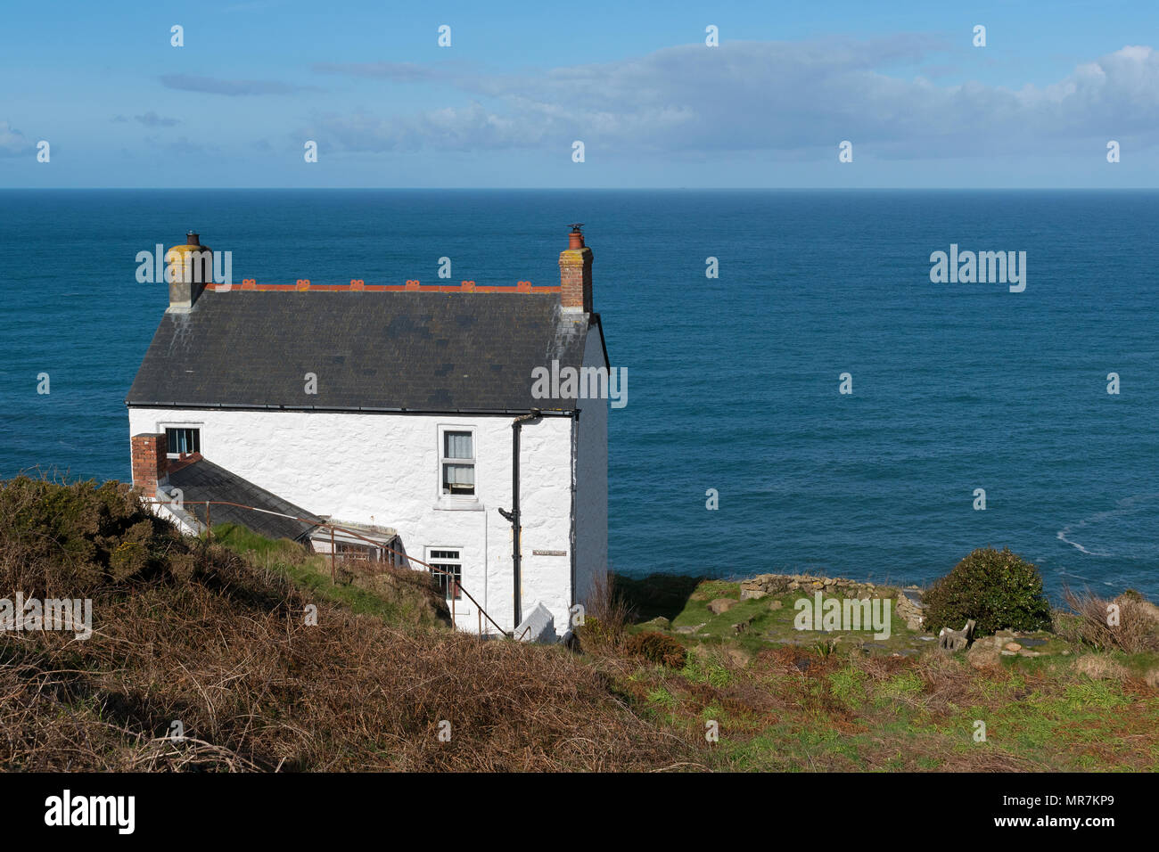 holiday cottage overlooking the sea at cape cornwall, cornwall, england, britain, uk, - Stock Image