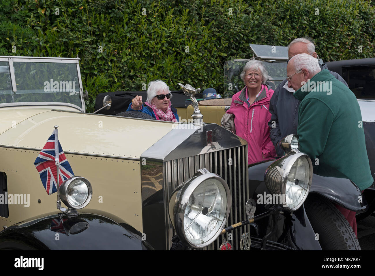 pre 1940s rolls royce silver ghost at the rolls royce 20 ghost club annual tour, cornwall, uk. - Stock Image