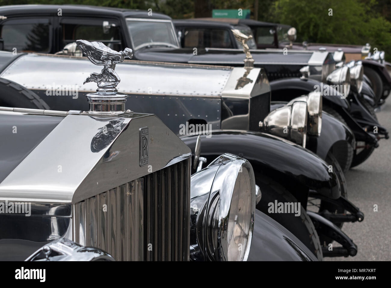 pre 1940s rolls royce phantoms at the rolls royce 20 ghost club annual tour in cornwall, uk. - Stock Image