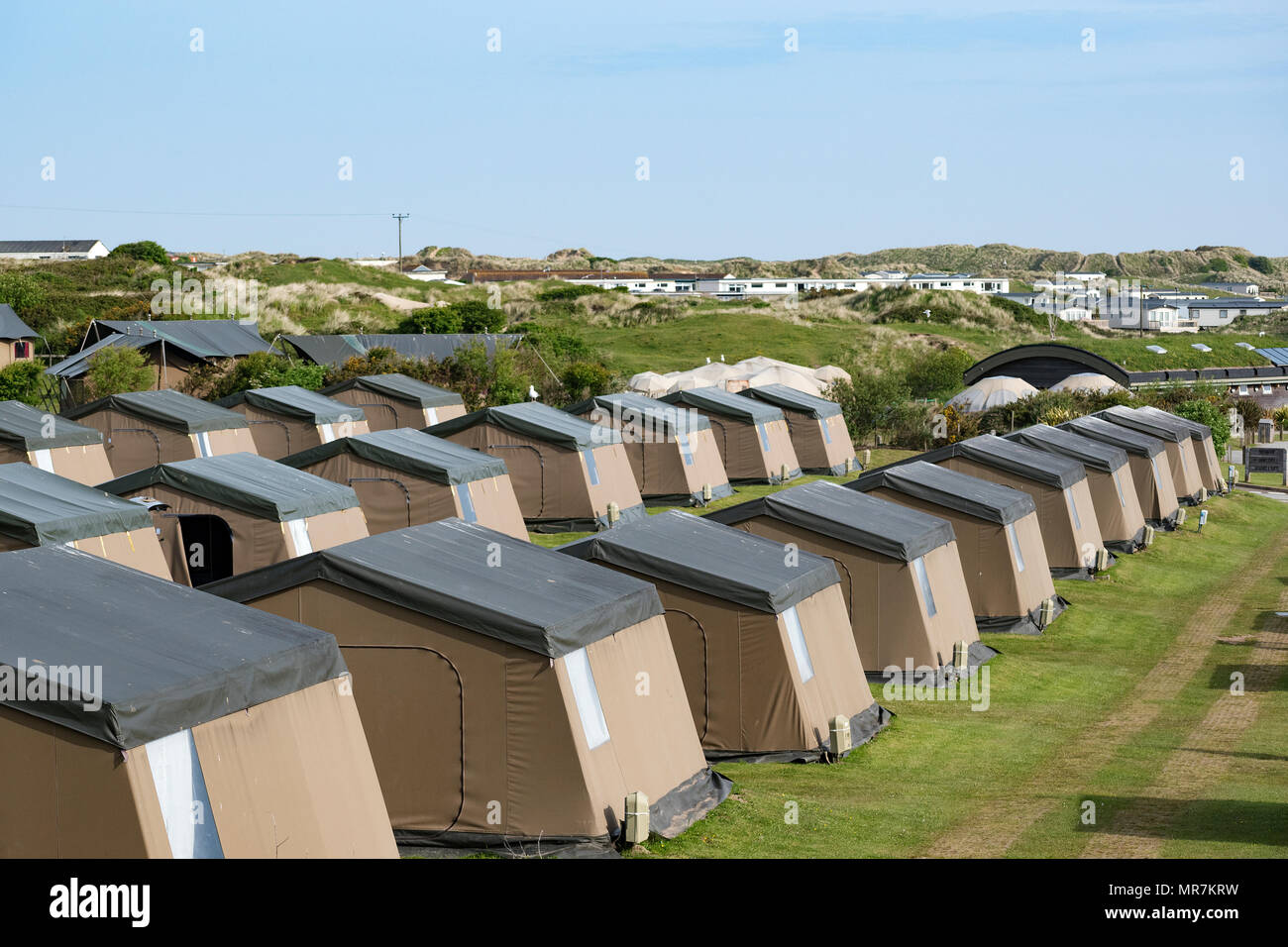 pre erected tents on a campsite in perranporth, cornwall, england, britain, uk, - Stock Image