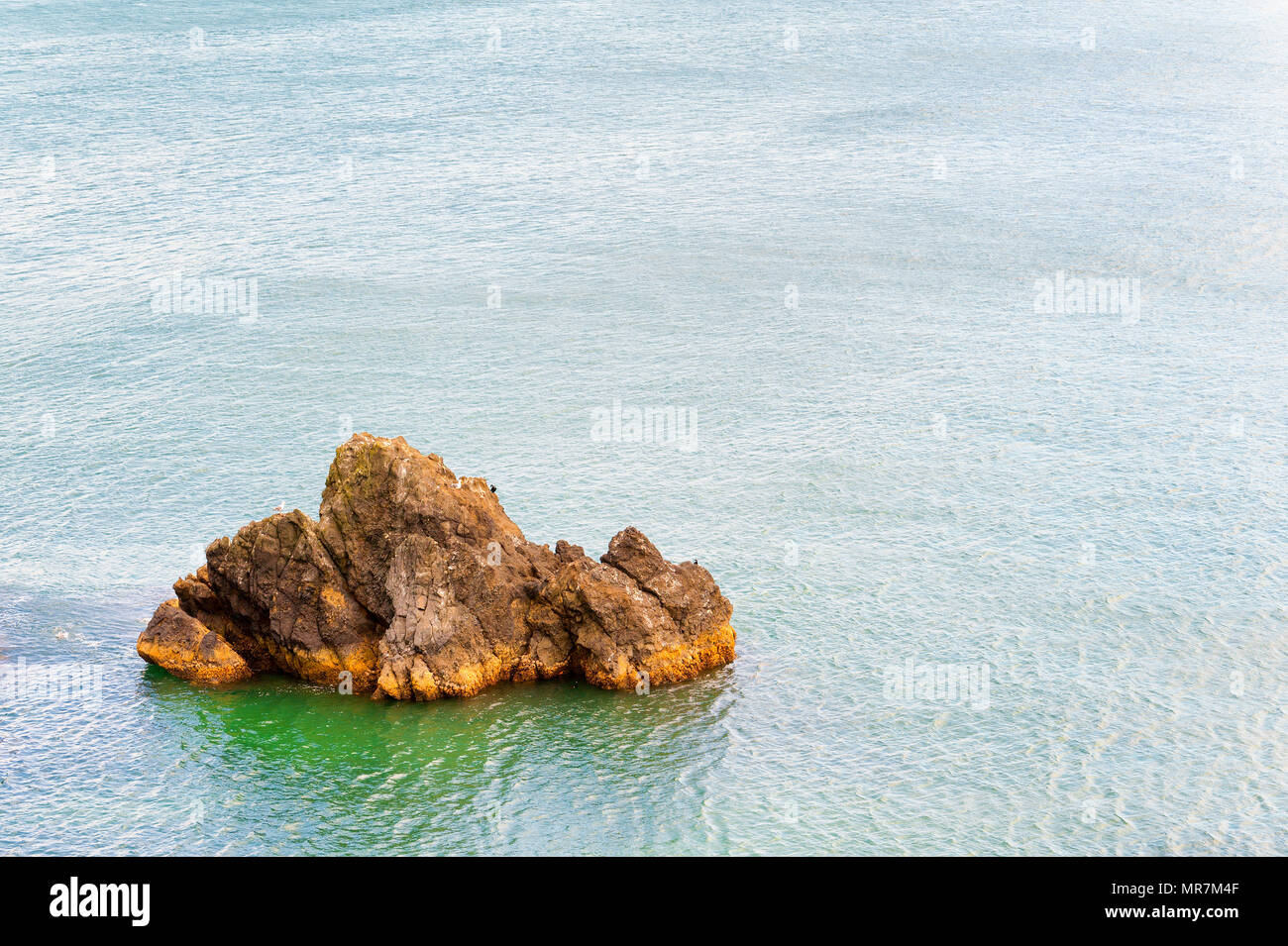 Copyspace available in this coastal landscape image of geological featured rock island surrounded by the Pacific Ocean on the Oregon Coast. - Stock Image
