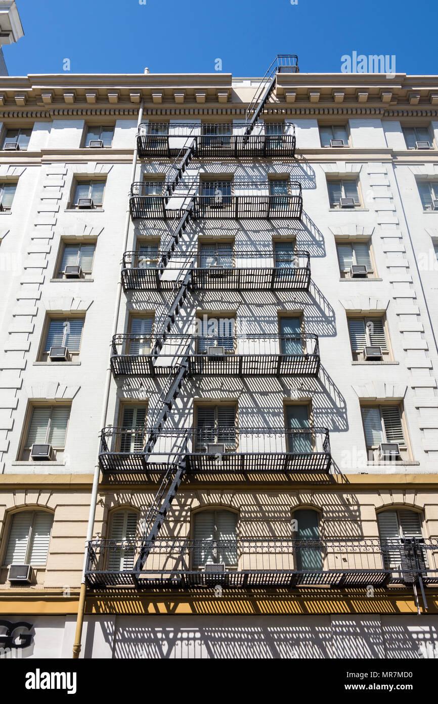 Exterior metal fire escape, San Francisco, CA, USA. - Stock Image