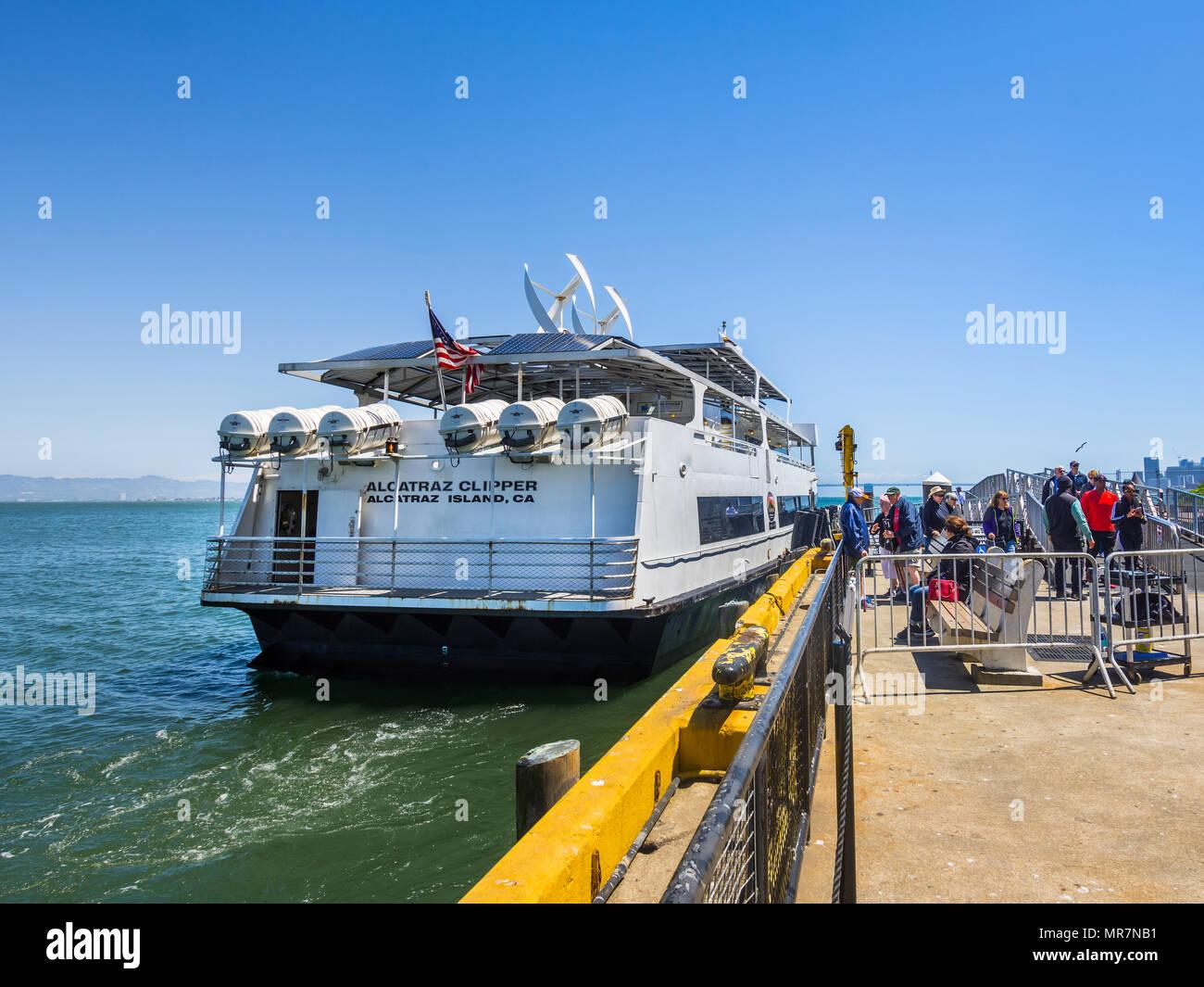 Ferry boat to Alcatraz Island from San Francisco, CA, USA. - Stock Image