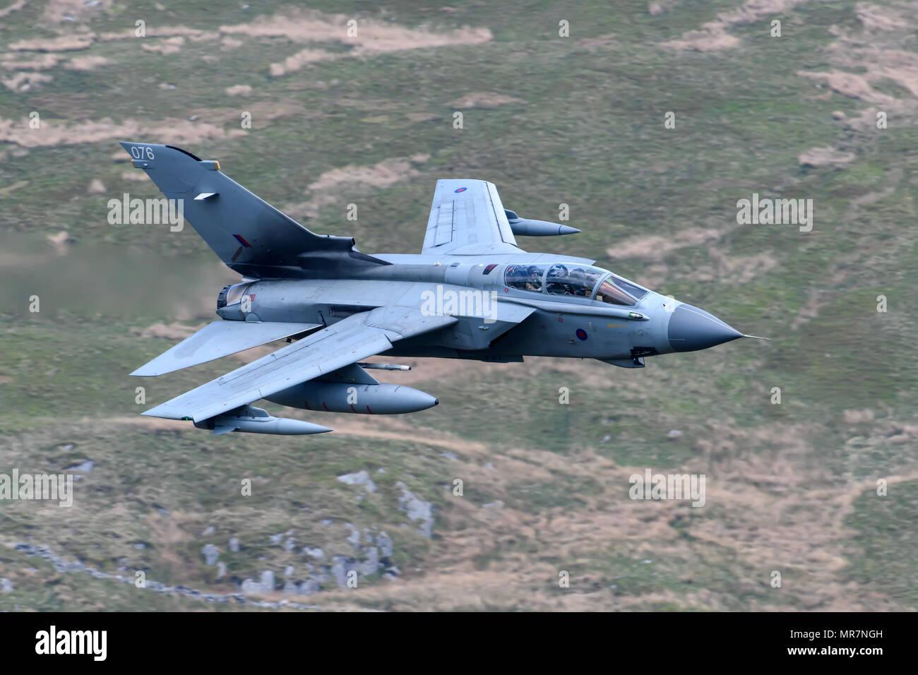 RAF Tornado GR4 flying through the Mack Loop Stock Photo