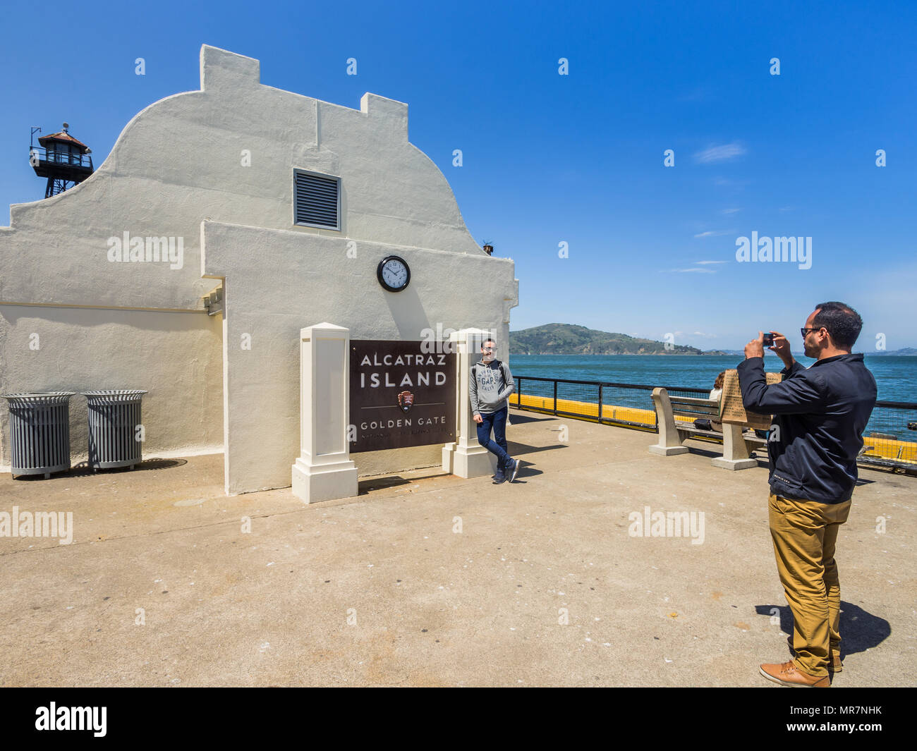 Two friends photographing at Alcatraz prisoin, San Francisco, CA, USA. - Stock Image
