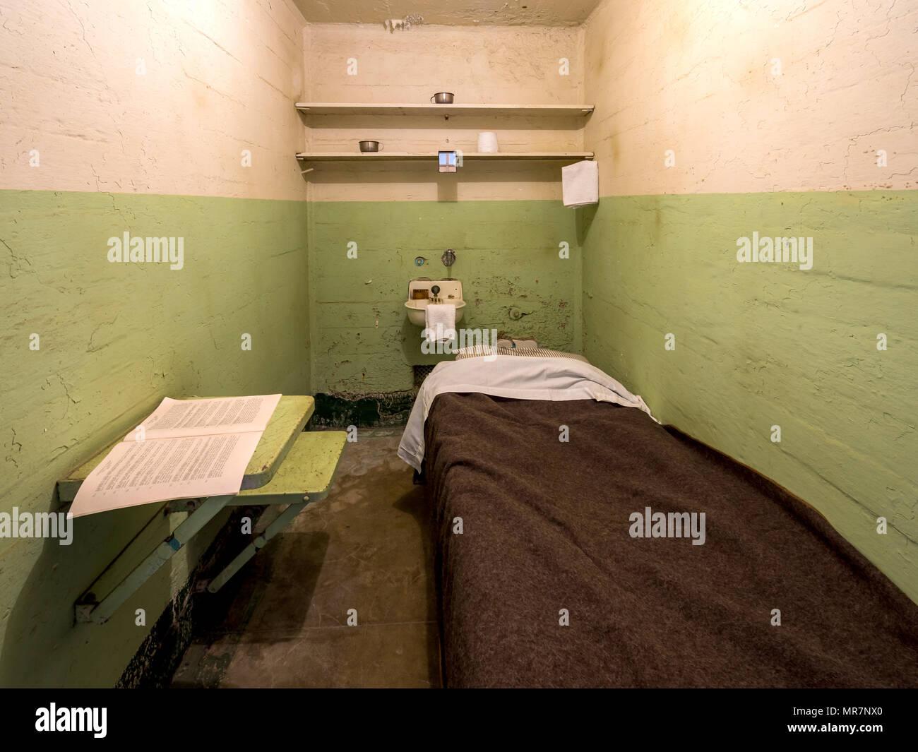 Cell in Alcatraz prison, San Francisco, CA, USA. - Stock Image