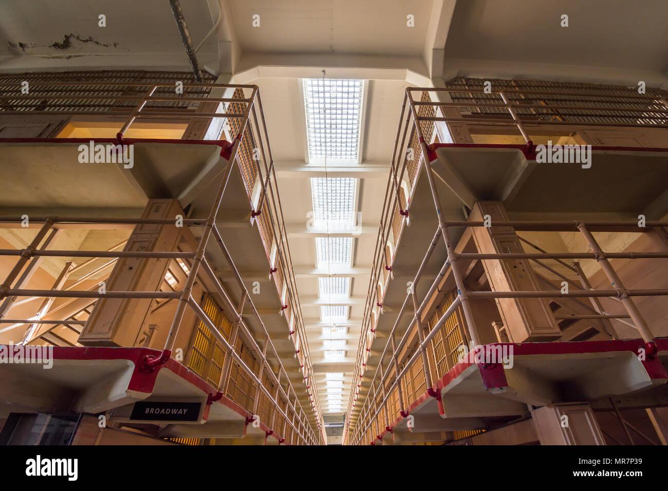 Galleries inside Alcatraz prison, San Francisco, CA, USA. - Stock Image