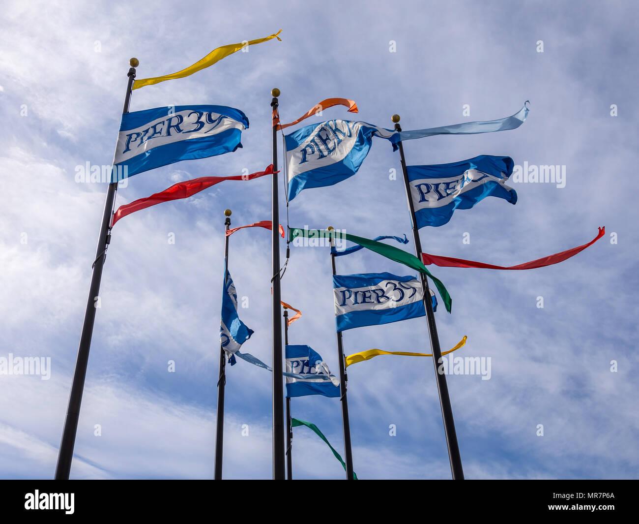 Flags on Pier 39, San Francisco, CA; USA. - Stock Image