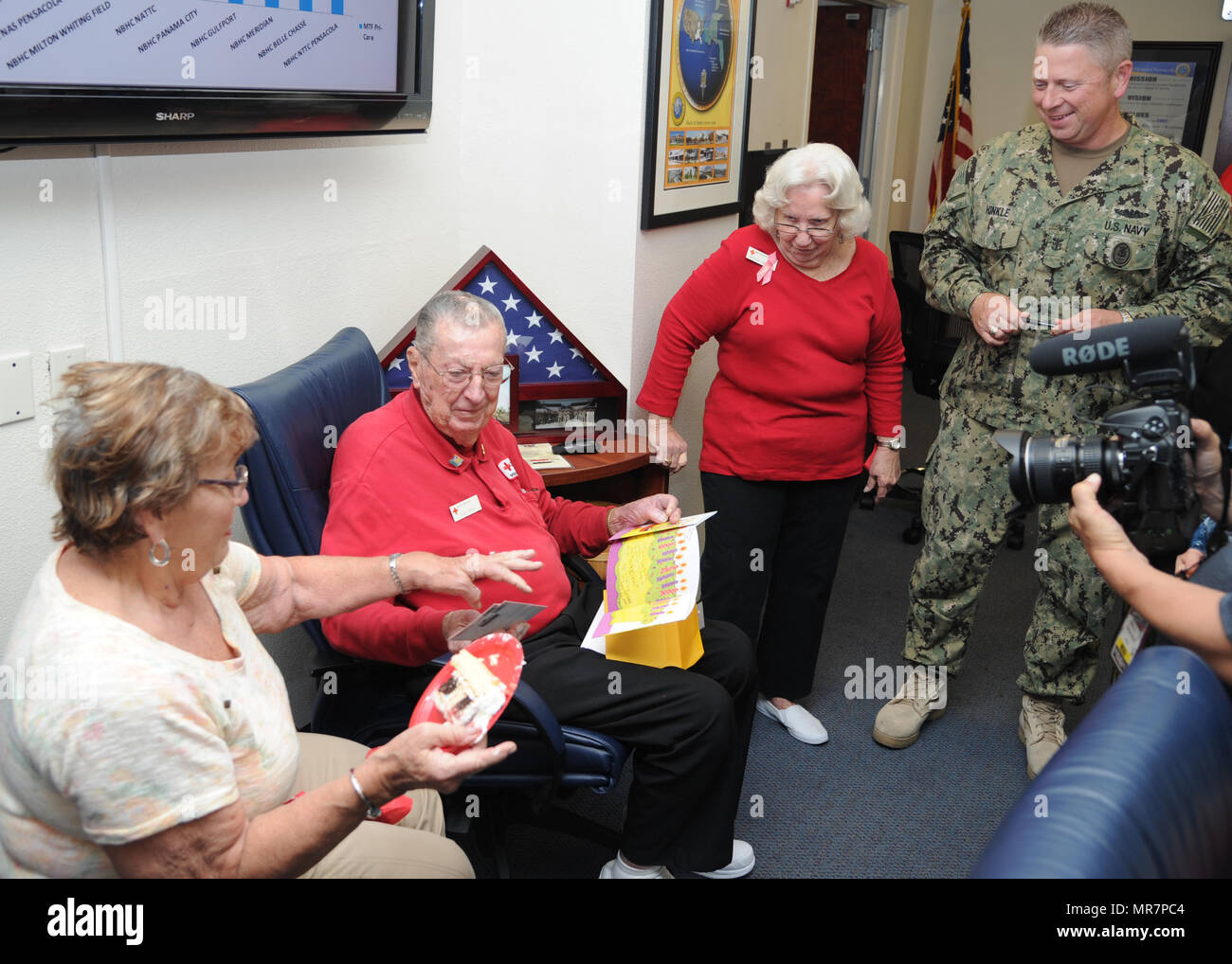 Francis Frank Emond A Red Cross Volunteer At Naval Hospital Pensacola Opens Birthday Cards During Party For Him May 23