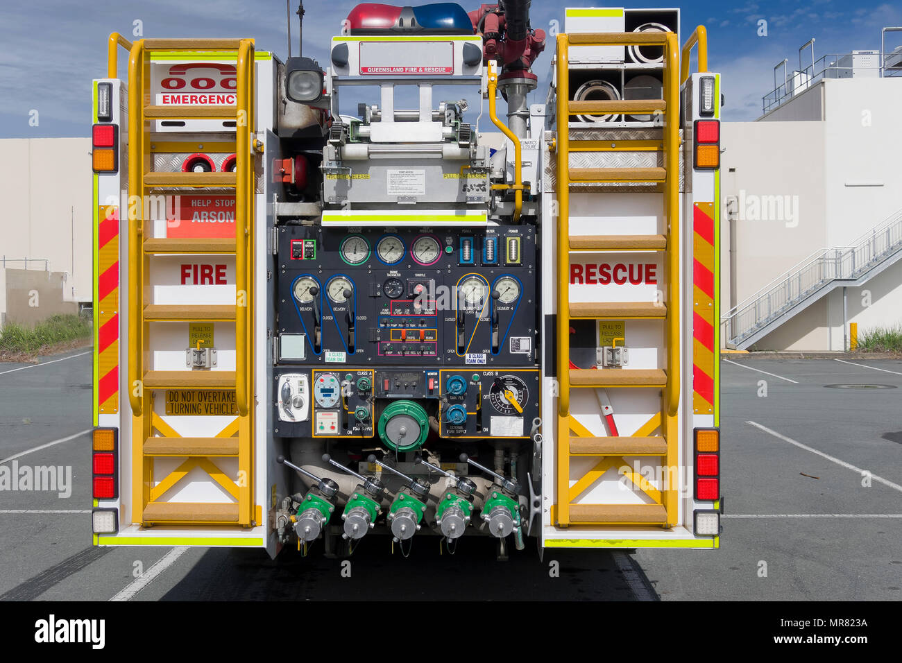 The rear od a fire engine with the various dials and equipment controls Stock Photo