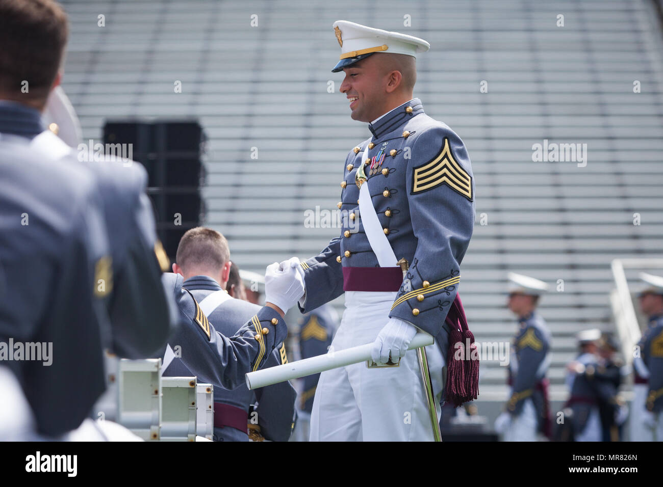 U.S. Military Academy cadets celebrate receiving their diplomas during the  2017 graduation ceremony at West Point. Nine hundred and thirty-six cadets  from ... a6679296de